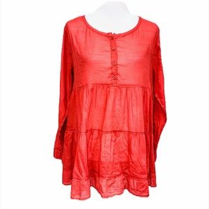 URBAN OUTFITTERS Ecote Tiered Babydoll Tunic Top